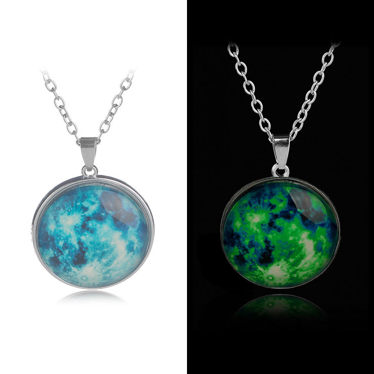50cm 19 Design Dome Solar System Stainless Steel Pendant Luminous Necklaces Glow in The Dark Full Glowing Moon Necklace