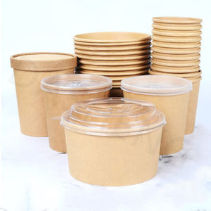 750ml Biodegradable eco friendly PLA lined Kraft paper salad bowl with PET lid