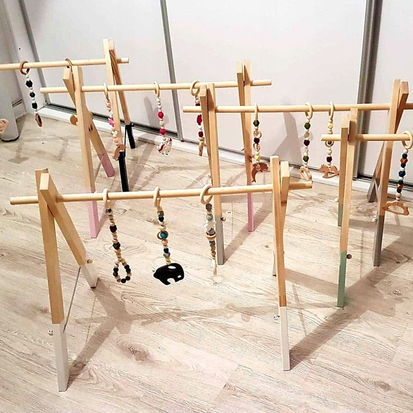 Wooden Baby Gym Toys Hanging toys for rattan baby gym play mats kids bedroom furniture daycare furniture custom wood play gym