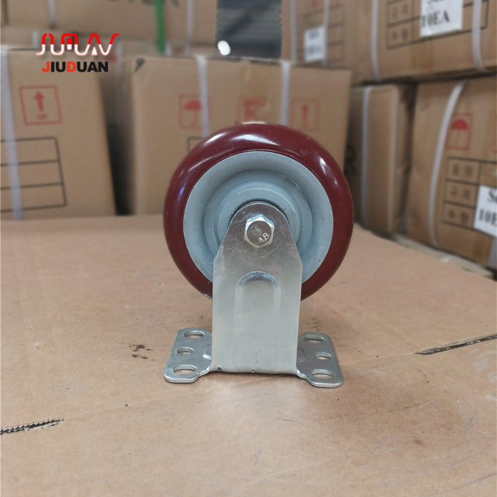 75mm 100mm red color swivel and Rigid PVC caster wheel