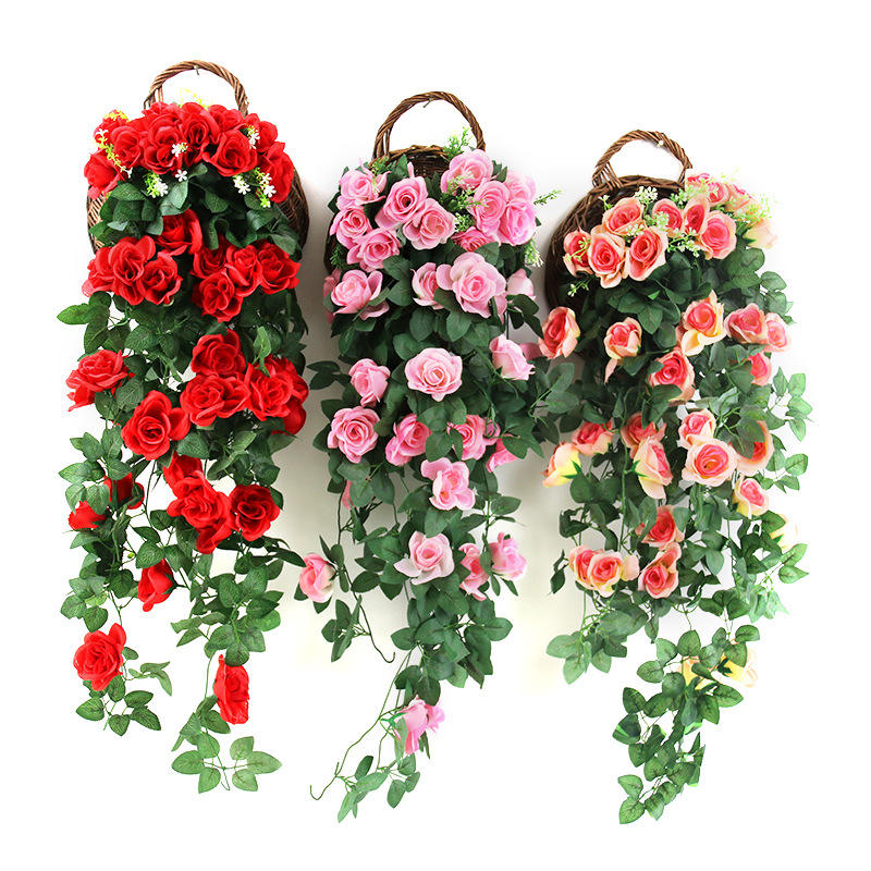 Hot Sale Cheap Artificial wall hanging silk rose hanging artificial flowers