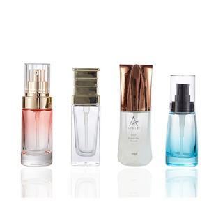 new design white clear pink blue color 30ml cosmetic glass various shape lotion pump bottle for cosmetic packaging
