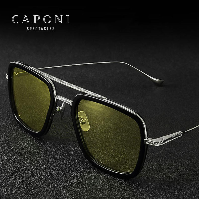 CAPONi Polarized Day and Night Vision Discoloration Edith Glasses Iron Man Tony Stark Sunglasses For Driving