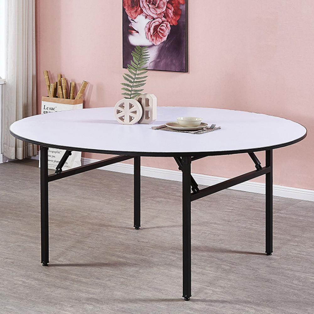 Wholesale Hotel Furniture Outdoor Event Used Round Metal Frame Wood Folding Table