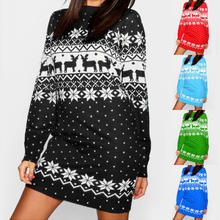 Women's Printed Crew Neck A-Line Dresses Casual Adult Festive Reindeer Christmas Sweater Dress