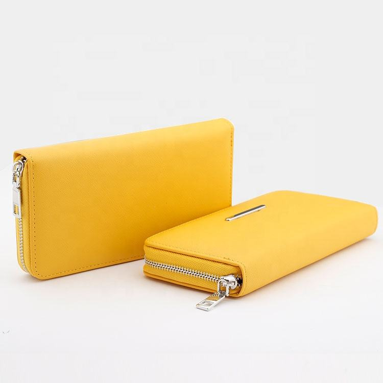 wholesale custom wallets for women fashionable simple PU Saffiano wallets leather woman clutch long Zipper gold ladies purse