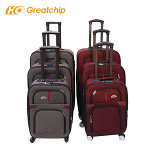 Semi-finished Cheap Soft EVA 12 pcs Polyester Oxford Trolley Case Suitcase Expandable Spinner Luggage