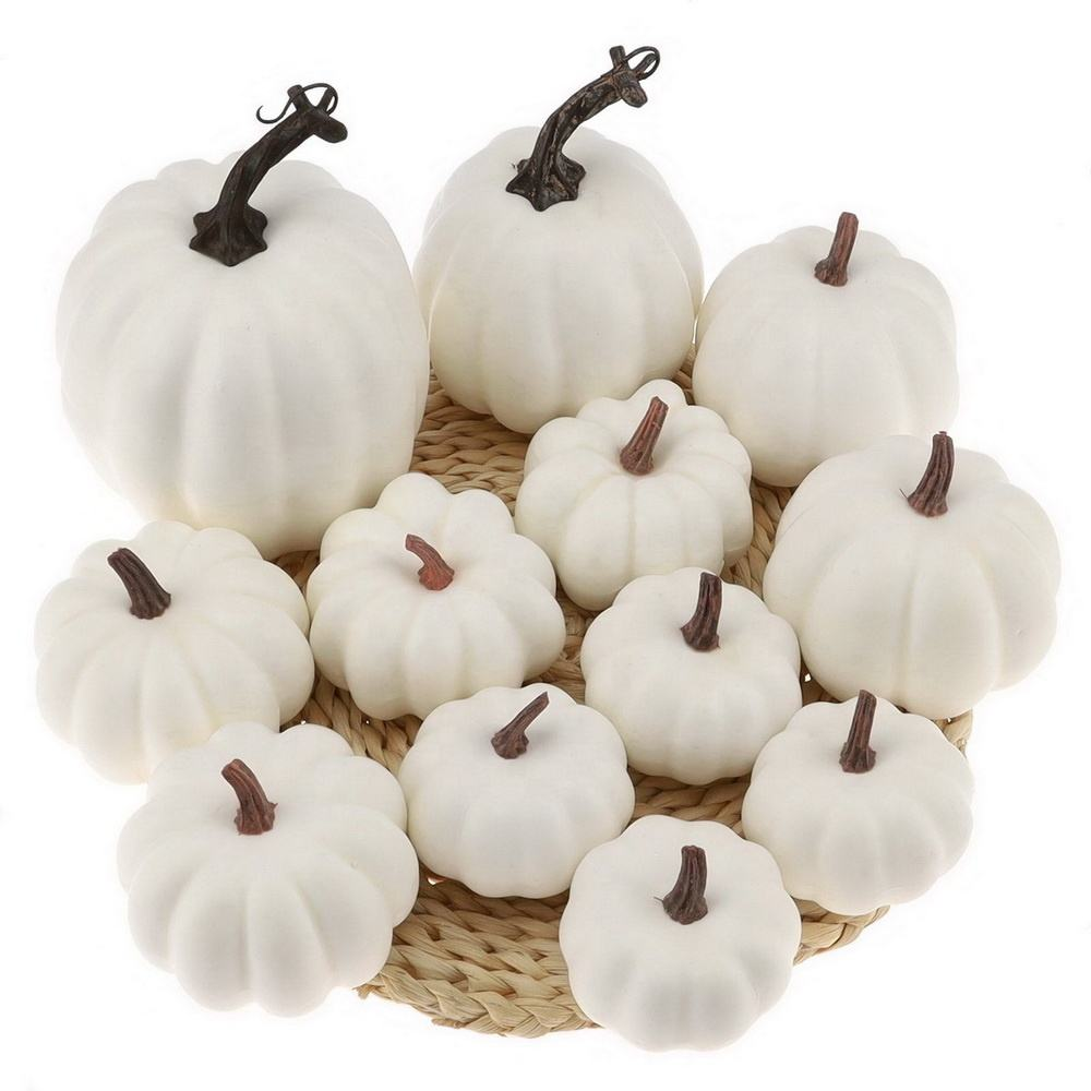Gresorth Top Quality Fake Pumpkins Halloween Decoration Artificial Cushaw for Autumn Fall Party Christmas Display
