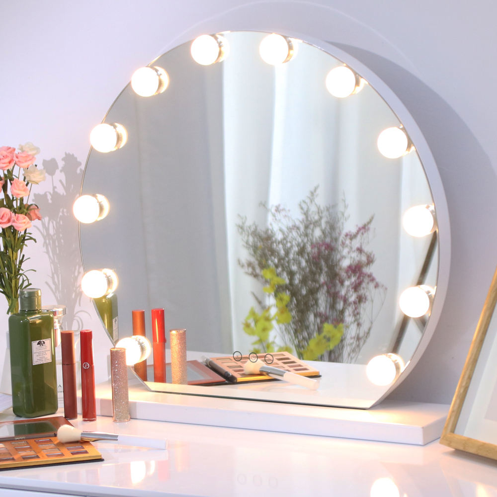 Makeup Mirror with Light bulbs, Hollywood Lighted Vanity Mirror with Touch Screen Dimmer, Three color light Large desktop Mirror