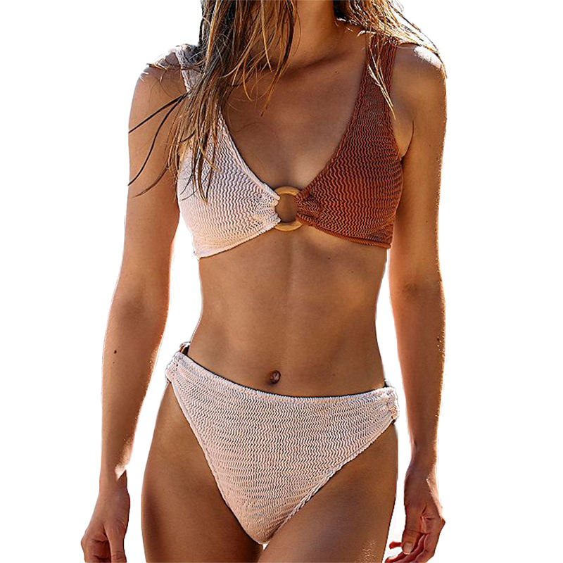 FS 2021 Special Fabric V Neck Triangle Bikini Set Swimwear Swimsuits Two Piece Bathing Suit White And Brown Patchwork With Ring