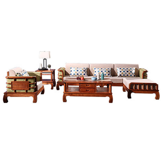 Rosewood sofa software furniture solid wood chaise sofa modern Chinese living room combination mahogany furniture