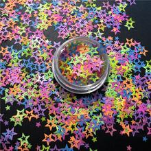 Exclusive Design Satin Matte Neon Color Hollow Star Glitter for Christmas Decoration
