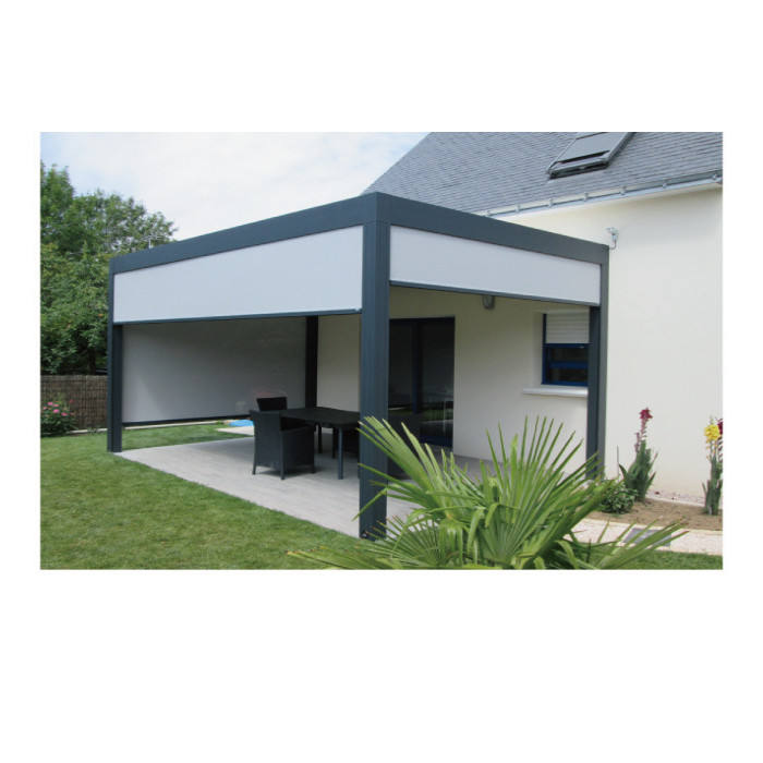 Topwindow Aluminium Terrace Free Standing Metal Posts Transparent Louvered Roof Retractable Aluminum Pergola