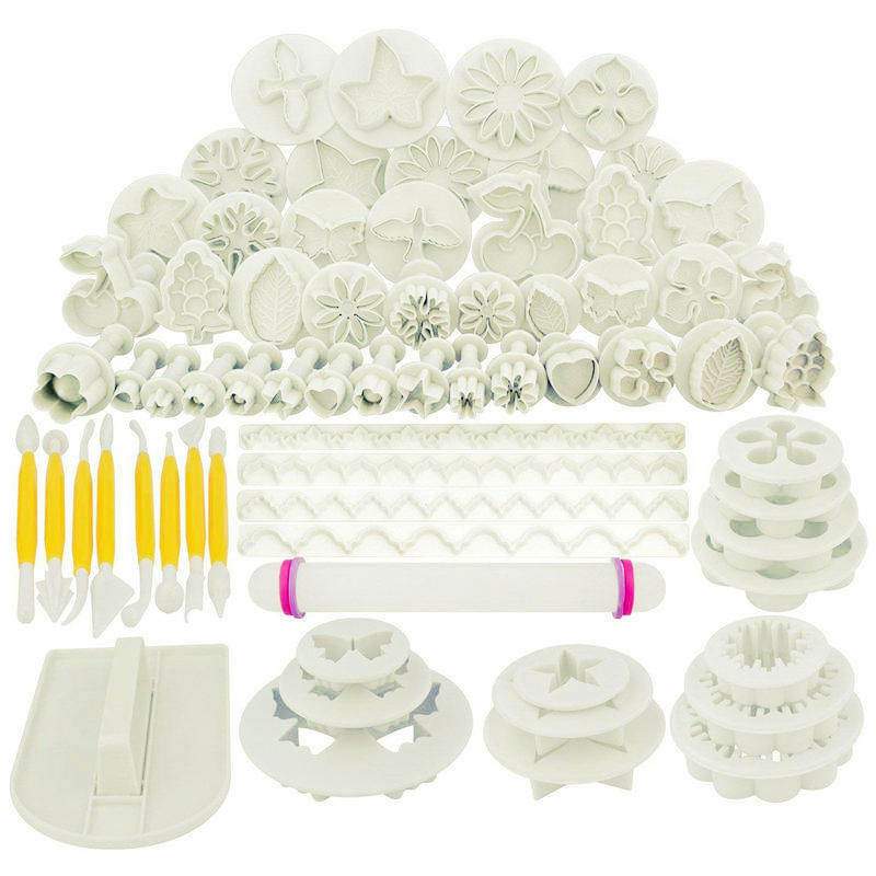 Set of 68 Fondant Cake Decorating Plunger Cutter Tools Cookies Mould 21 style plastic cookie cutters