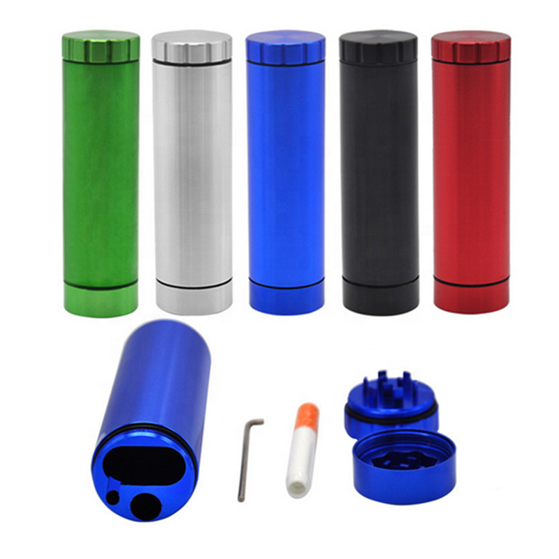 Amazon hot sale cylindrical herb grinder tobacco cigarette storage room one hitter pipe