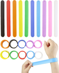 OKSILICONE Rainbow Color Birthday Party Silicone Slap Wristband Soft & Safe Slap Bracelets For Kids Boys & Girls Party Favors