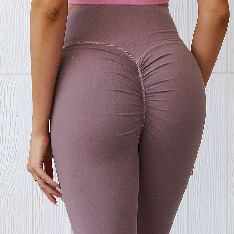 high waist cotton butt lift yoga pant leggings pure color sexy workout breathe sportswear for women