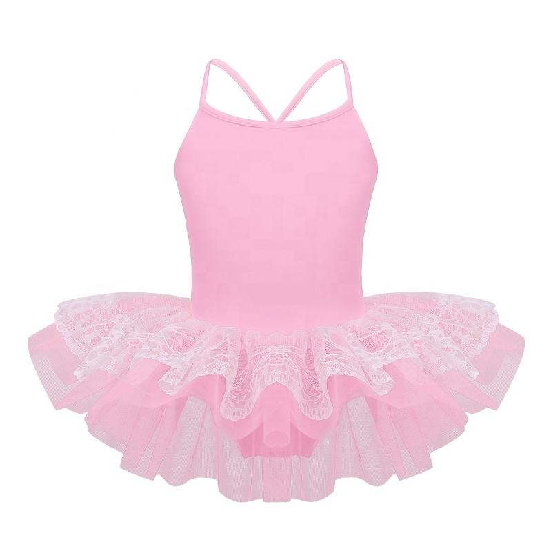 Kids Girls Spaghetti Shoulder Straps Layered Lace Ballet Dance Gymnastics Leotard Mesh Tutu Dress