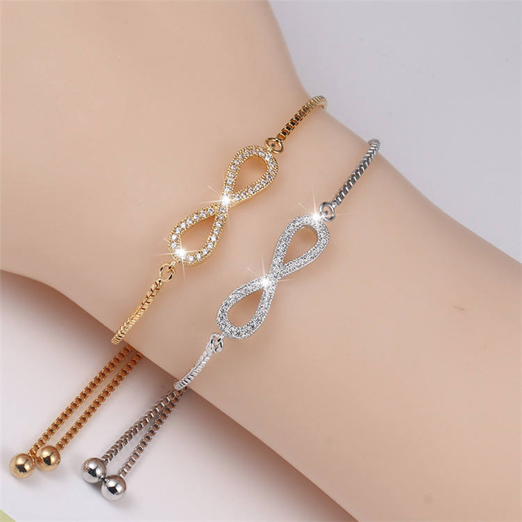 New Creatived 8 Wristband Rhinestone Link Chain Custom Bracelets Jewerly