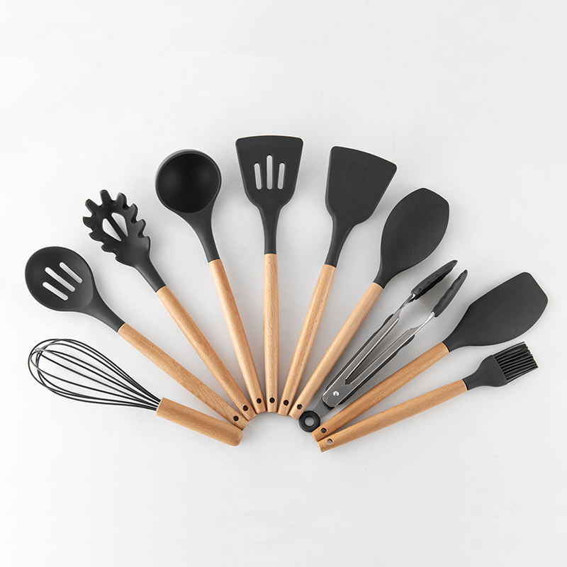 Factory Direct Sell 11pcs Bamboo Silicone Kitchen Cooking Utensil Set