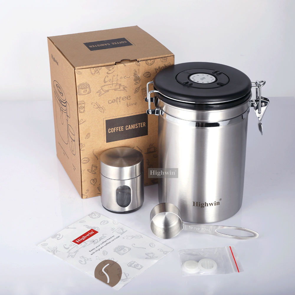 Highwin Factory Wholesale Stocked 750g Stainless Steel Tea Coffee Sugar Canister Vacuum with CO2-Release Valve