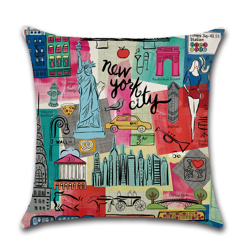 Decor Throw Pillow Cushion Cover New York City in Cartoon Style Colorful Decorative Square Accent Pillow Case Multicolor