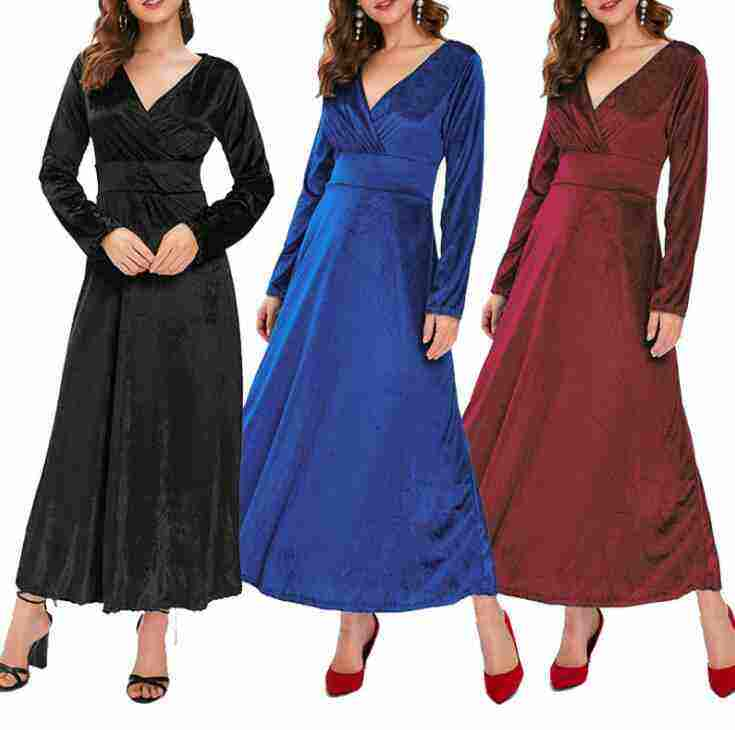 Autumn and winter new European and American women's gold velvet long-sleeved V-neck large swing dress wholesale