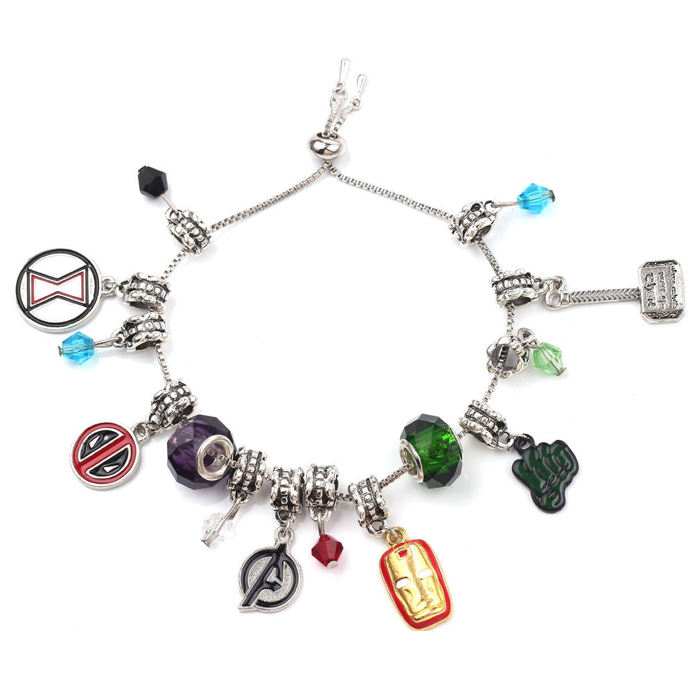 Hotsale Design Marvel The Avengers Superhero Captain Bracelet America Iron Man Deadpool Thor Wonder Charm Bracelet For Unisex