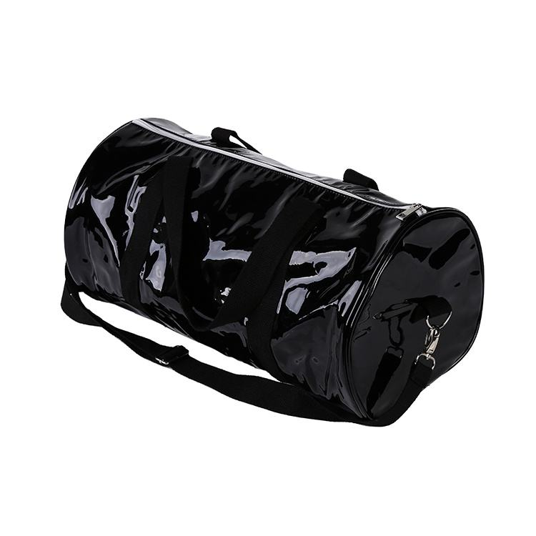 Custom logo waterproof foldable travel iridescence PU sport duffle bag with pocket
