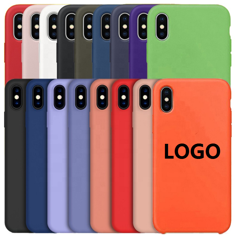 Oficial caso do silicone para o iphone x com logotipo, para o iphone da apple caso x silicone