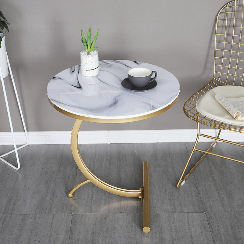 Marble Coffee Table Nordic Style Home Furniture Metal Small Stock Wrought Iron Gold Round Modern Coffee Corner Marble Side Table
