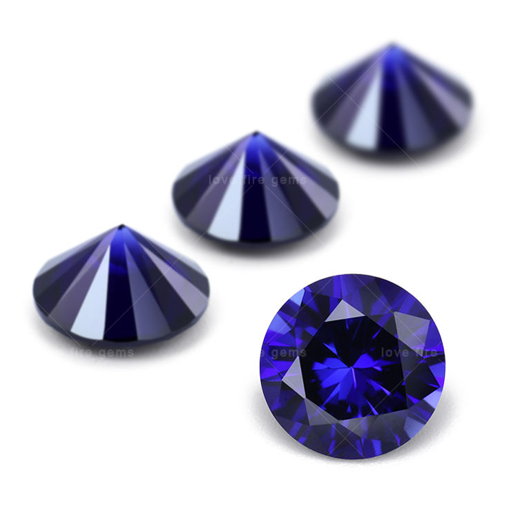 4mm 3A factory wholesale round shape 34# sapphire blue synthetic corundum stone for high quality jewelry making