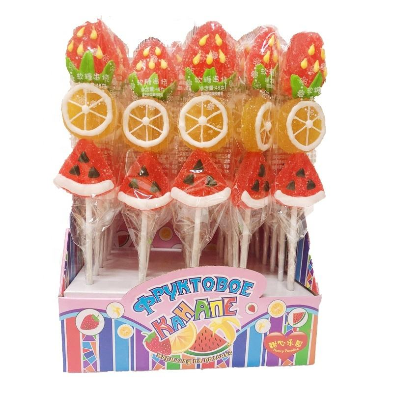 48g assorted mix fruit shape watermelon orange grape strawberry soft jelly pop Sticks lollipop Candy Sweet Confectionery