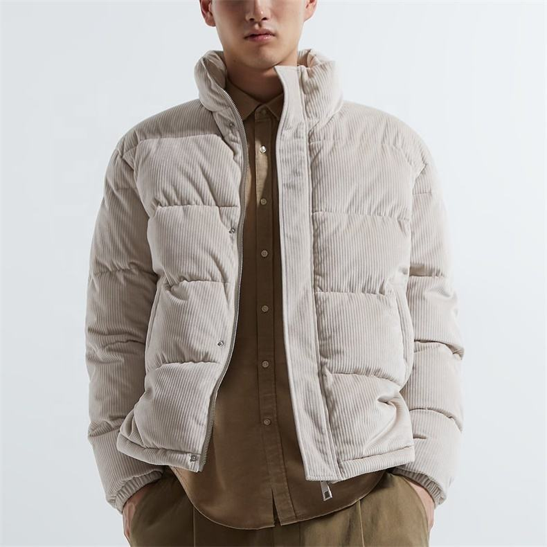 OEM plain lather puffer down bubble corduroy jacket for men