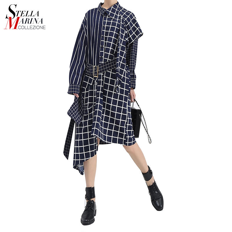 Hot selling long sleeve turn down collar blue patchwork plaid dress with free belt casual slim vestidos midi dress