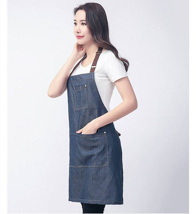 New Design Fashion Cotton Fabric Soft Denim Apron With Webbing Straps Adult Bib
