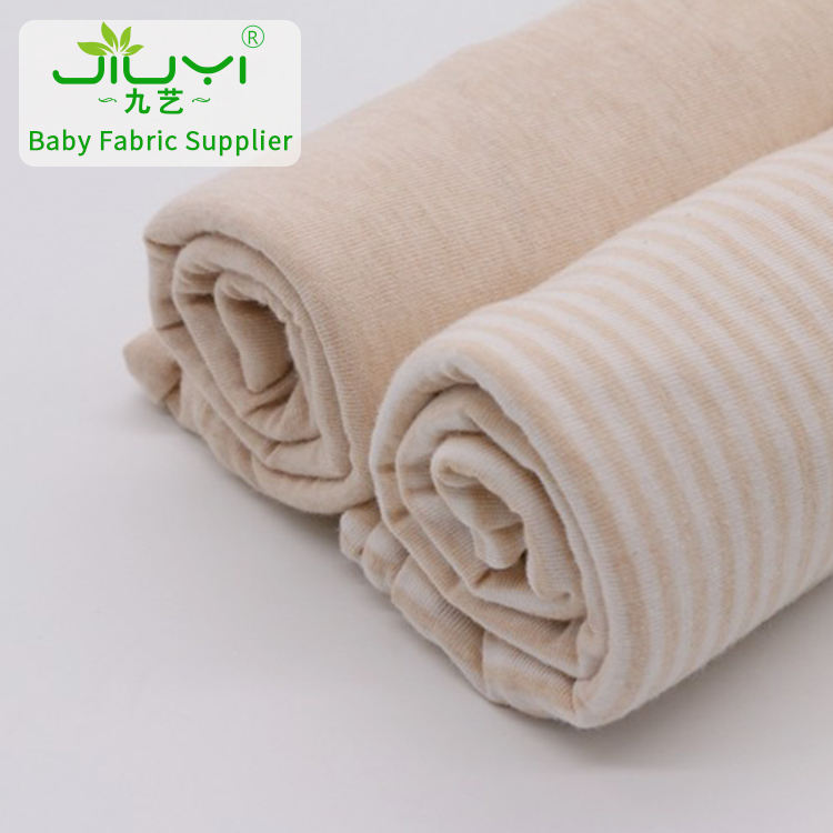 Wholesale natural stripes organic combed single tubular 100% cotton jersey knit fabric