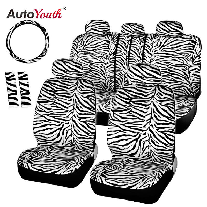 Short Plush White Zebra Car Seat Covers Set Universal with Car Seats Steering Wheel Cover Shoulder Pad Car Seat Cover