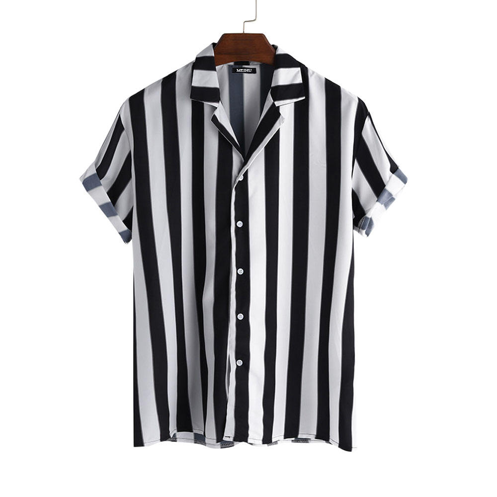 2021 Men Striped Shirt Casual Lapel Neck Short Sleeve Button Shirt Chic Loose Blouse