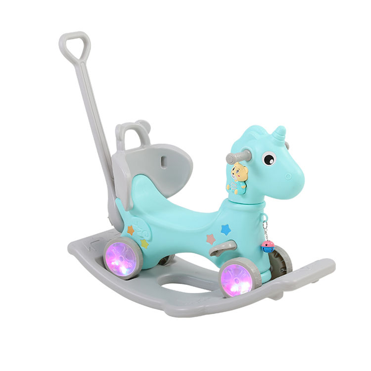 Baby birthday gift baby rocking horse toy rotating glow kids plastic ride on rocking horse baby walker