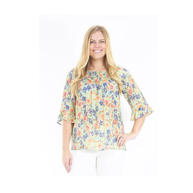 Z&R printed crinkle satin blouse with V-neck and overlay flutter sleeves
