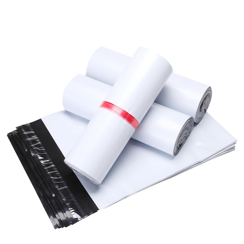Custom white plastic mailing letter packaging bag with self-adhesive waterproof and tear-resistant mailing bag