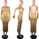 Long Sleeve Dresses Latest Design Lady Thumb Hole Long Sleeve Backless Club Wear Bodycon Sexy Autumn Women Maxi Dresses