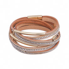 New Arrival Girls Ladies Jewelry Genuine Leather Bracelet With Clasp Mirco Paved Rhinestone Multilayer Women Leather Bracelet