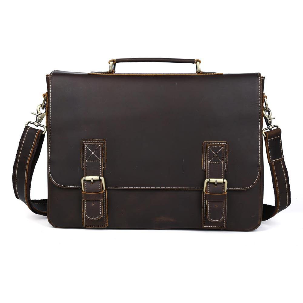 TIDING Men's Executive 가죽 Briefcase Genuine Leather Business Laptop Bag