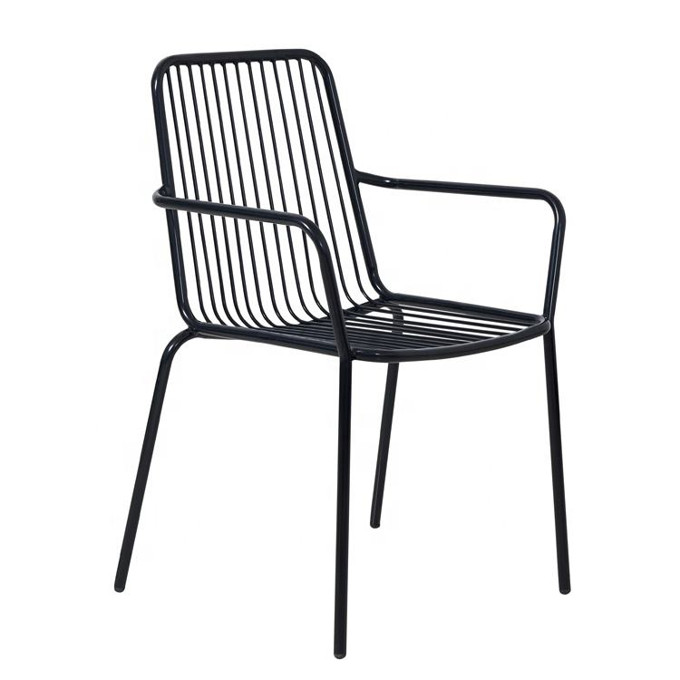 Cheap Chinese Patio Stackable Leisure Cafe Black Iron Garden Chair Outdoor Furniture