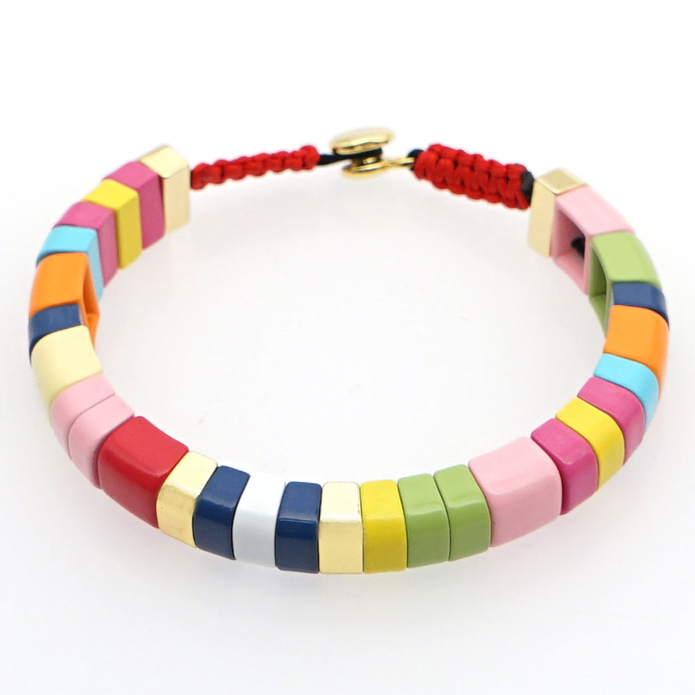 Go2boho 2020 Colorful Tile Beads Enamel Elastic Stretch Cuff Bracelet For Your Friends