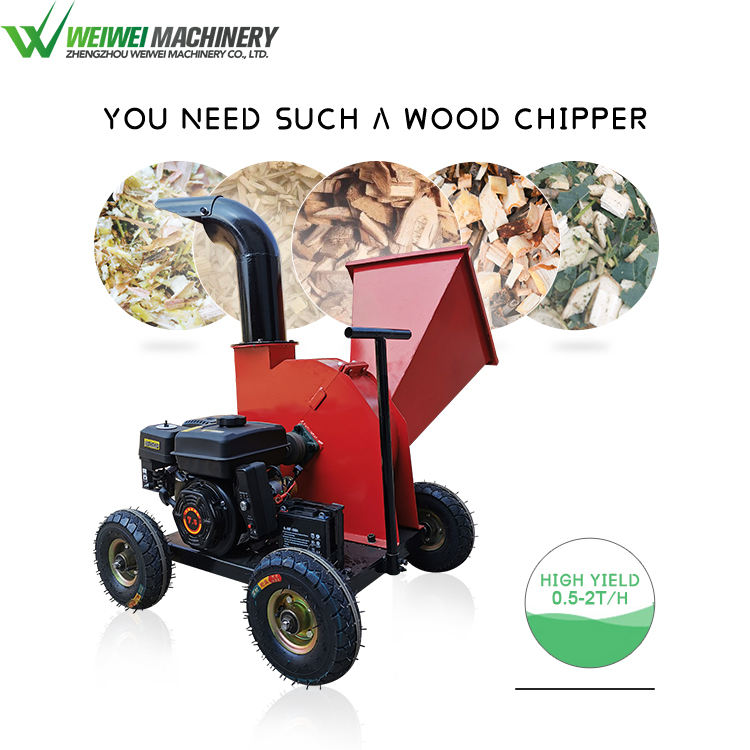Weiwie small chips making gasoline power drum wood chipper