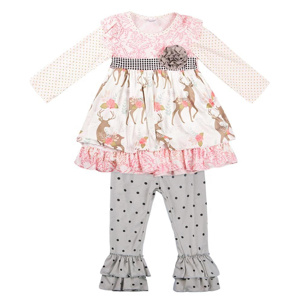 New OEM Wholesale Fall Fashion Printed Floral Girl Clothing Sets Boutique Ruffle Full Legging for Baby Kids