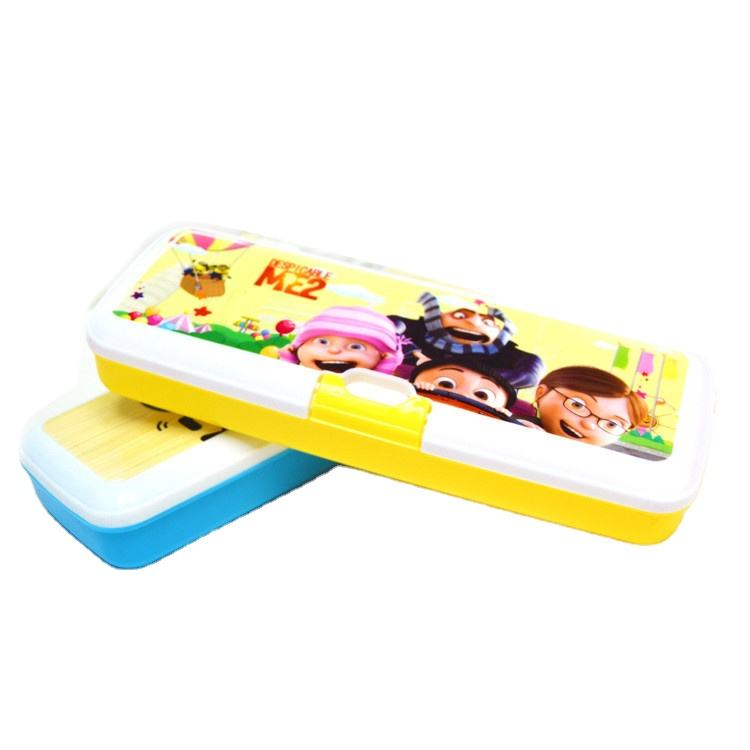 Plastic two-layer pencil case/advertising cartoon design pencil box for kids